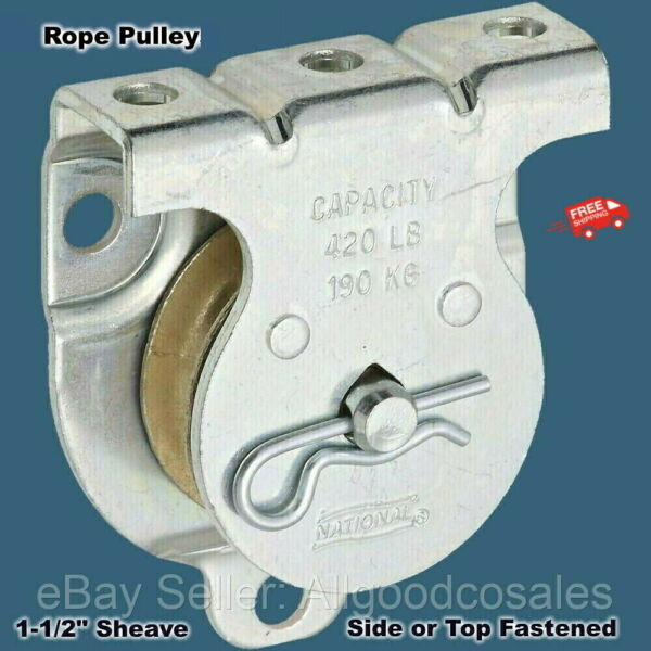 ROPE PULLEY Wall or Ceiling Mount 1 1 2quot; Sheave Side or Top Fastened NEW