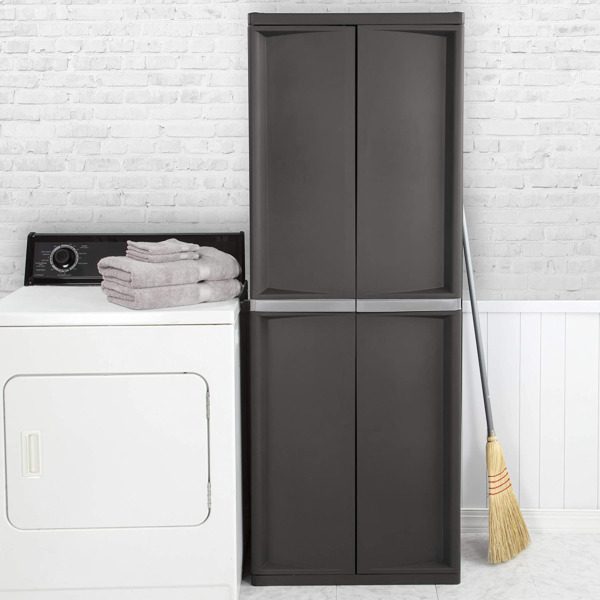 Kitchen Storage Pantry Cabinet Tall Cupboard Organizer 4 Shelves Flat Gray