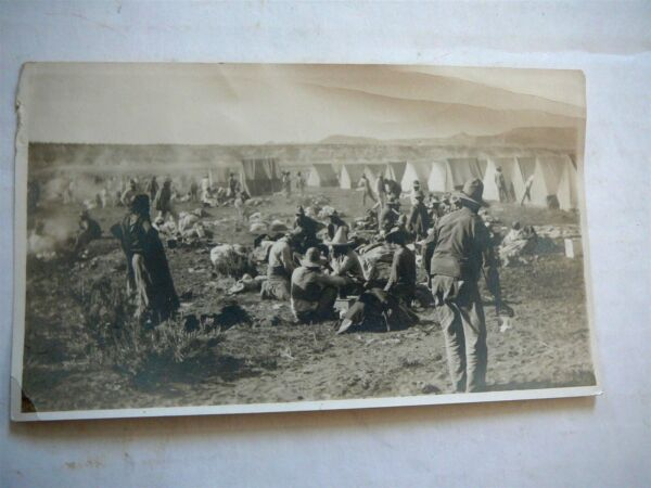 VINTAGE BLACK amp; WHITE SNAPSHOT PHOTOGRAPH SHEARING CAMP ? MILITARY TENTS