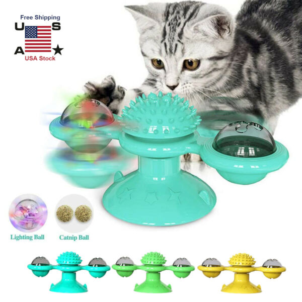 Cat Turning Windmill Turntable Tickle Toy t Scratch Hair Brush Pet Accessories $9.01