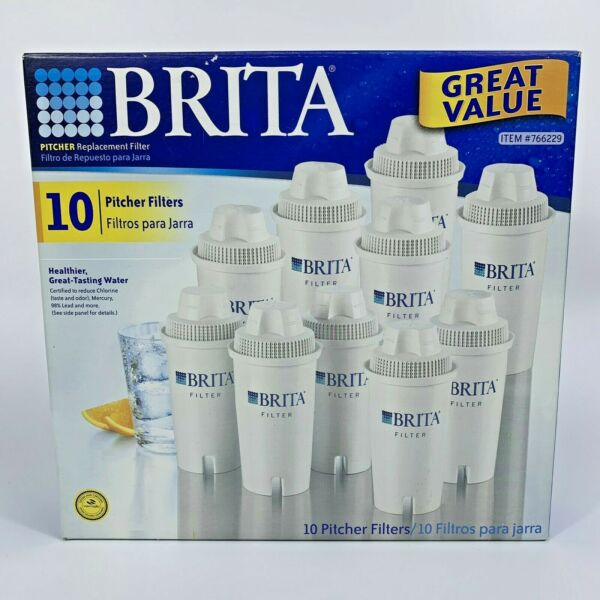 Brita Pitcher Relpacement Filter 10 Pack 766229 Brand New Sealed