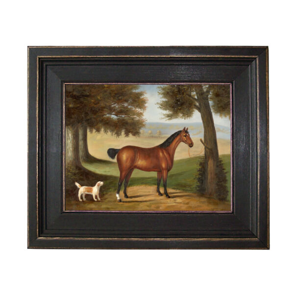 Horse and Dog in Landscape Framed Oil Painting Print on Canvas in Black Frame $102.50