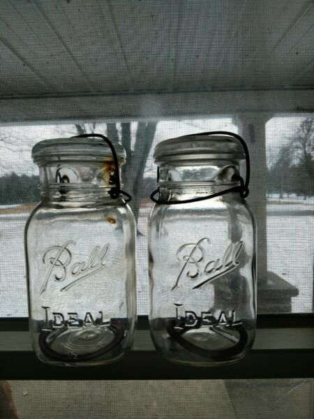 2 Vintage Square Ball IDEAL Clear Canning Mason Jar QT w Wire Bail Lid amp; Seal