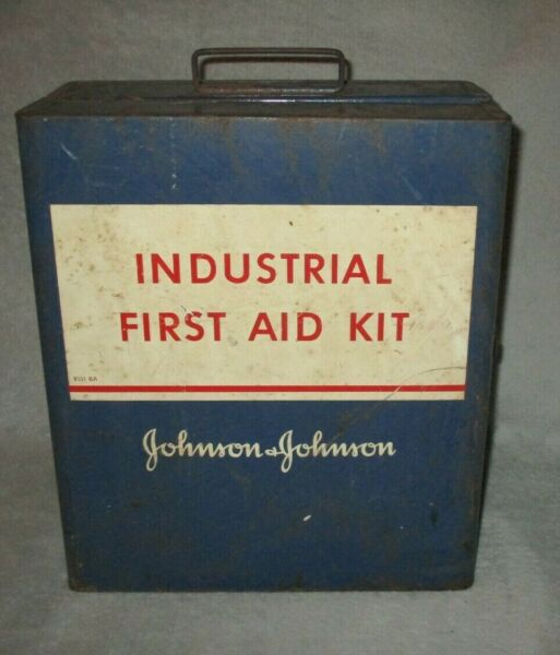 Vintage Johnson amp; Johnson Industrial First Aid Kit Metal Wall Mount Box