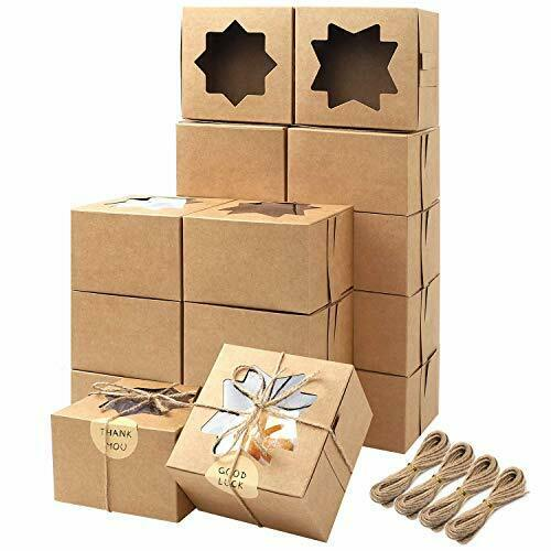 Moretoes 50pcs Brown Bakery Boxes with Window Cupcake Boxes 4x4x2.5 Inches Cook