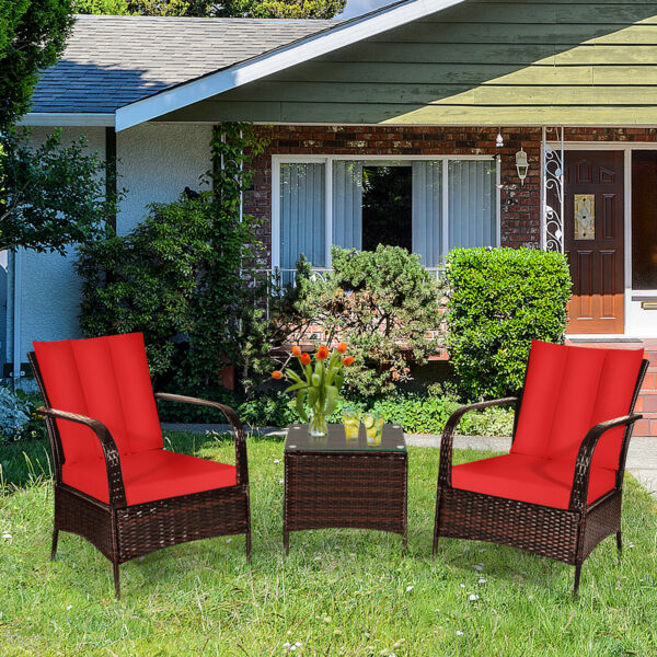 3PCS Patio Rattan Wicker Conversation Set Outdoor Furniture Set w Red Cushions $254.99