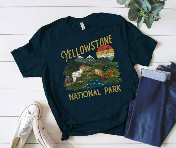 Vintage Retro Yellowstone National Park T Shirt T Shirt US National
