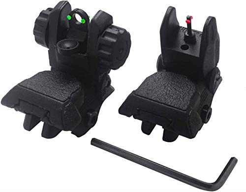 AWOTAC Polymer Black Fiber Optics Iron Sights Flip up Front and Rear Sights with $27.71