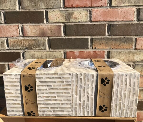 •NEW• Unbranded •Mosiac Tile Dog Feeder Stand• Comes W Bowls •Light Cream• $70.00
