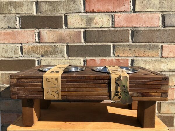 •NEW• Unbranded •MCM Wood Dog Feeder Stand• Comes W Bowls •Golden Browns• $78.00
