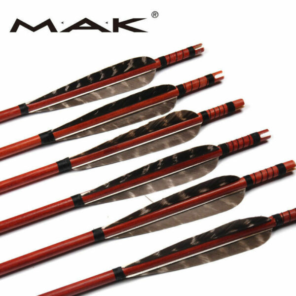 6 12 24X 31#x27;#x27;Wood Arrows Real Feathers F Bow Hunting Target Archery Practice $50.34