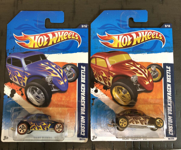 Hot Wheels CUSTOM VOLKSWAGEN BEETLE Set Of 2 HEAT FLEET '11 $8.90