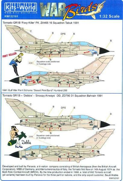 Kits World Decals 1 32 PANAVIA TORNADO GR4 Foxy Killer amp; Debbie Snoopy Airways