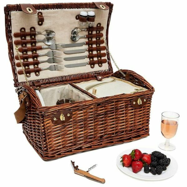 Large Wicker Picnic Basket for 4 Person Insulated Cooler Bag Supplies 18x12x10quot; $61.99