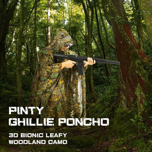 Hunting Ghillie Suit 3D Leafy Camo Poncho for Women Men for Hunting Games More