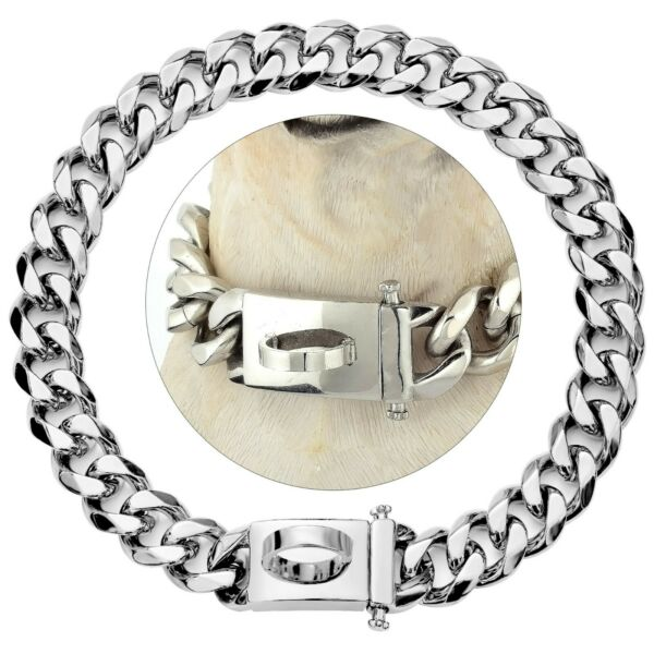 Tobetrendy Dog Silver 15MM Chain Collar with Design Secure Buckle $23.99