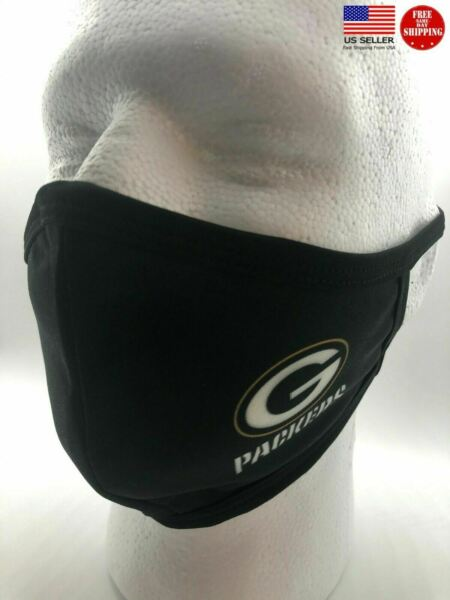 Green Bay Packers Washable Face Mask Black Cloth Comfortable Reusable Sealed New