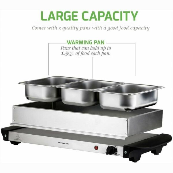 Ovente Countertop Electric Buffet Food Warmer Stainless Chafing Dishes Catering