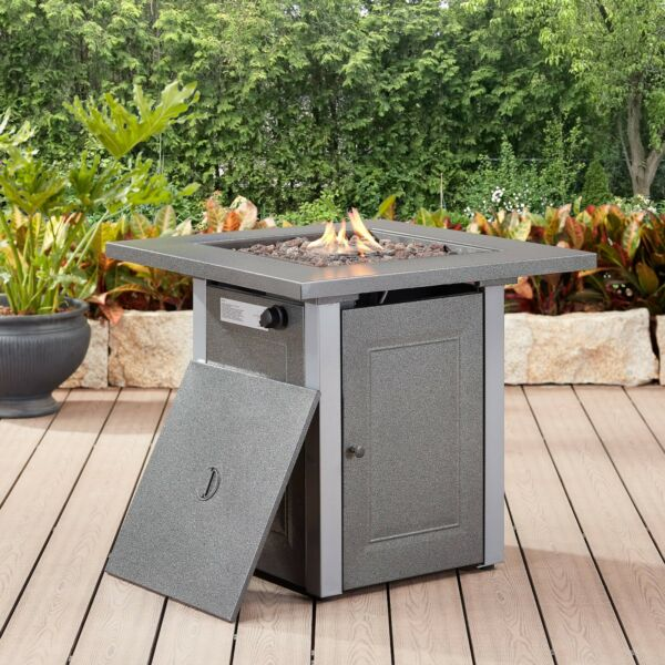 Patio Backyard Fire Table Outdoor Square Propane Gas Fire Pit Area Warmer Heater