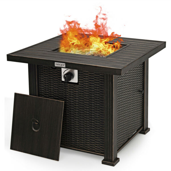 30quot; Gas Fire Table 50000 BTU Square Propane Fire Pit Table w Lid and Lava Rocks