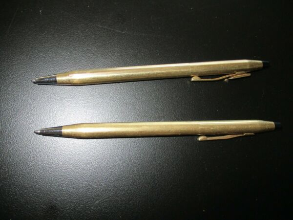 Vintage Pens 1 marked Dictaphone Ballpoint Gold Pen and 1 Cross pin USA