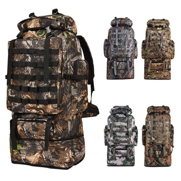 100L Large Camping Backpack Waterproof Hiking Military Camo Travel Tactical Bag $25.56