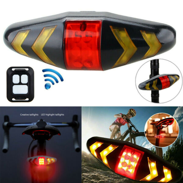 Wireless Bicycle Bike Rear LED Tail Light Remote Control 5 Mode Turn Signal USB $13.24