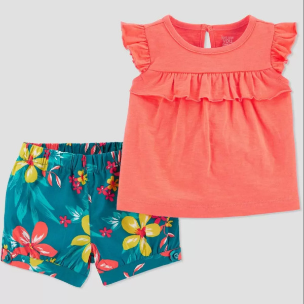 Baby Girls#x27; 2pc Floral Top amp; Bottom Set Just One You made by carter#x27;s Pink 24M