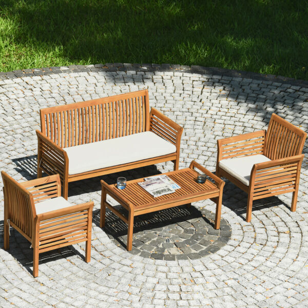 4PCS Wooden Patio Conversation Set Outdoor Furniture Set w Cushion $489.99