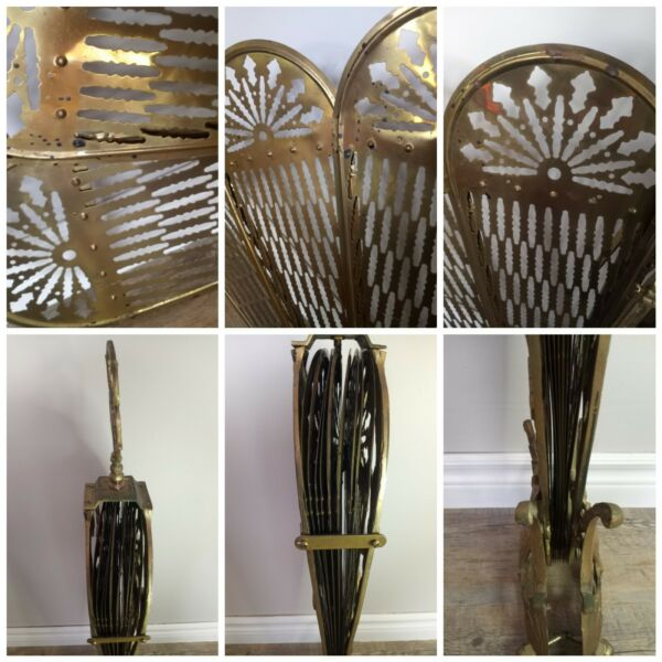 Vintage Brass fireplace peacock screen fan Lady Godess art deco preowned