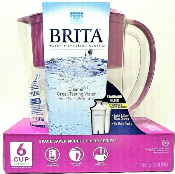 Brita Pitcher 6 Cup Water Filtration System Color Series 2 Filters Purple