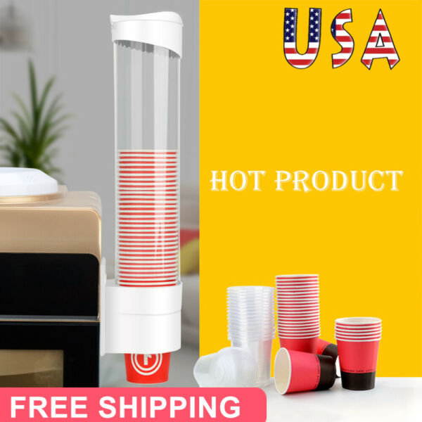 Wall Mounted Disposable Paper Cup Dispenser Plastic Cup Holder Water Dispensers $10.89