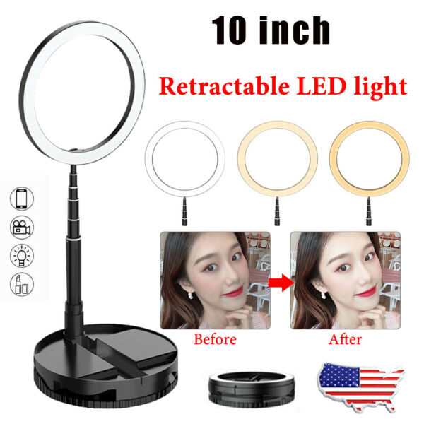 10quot; Selfie LED Ring Light With Retractable Stand Holder For Live Makeup Photo $17.99