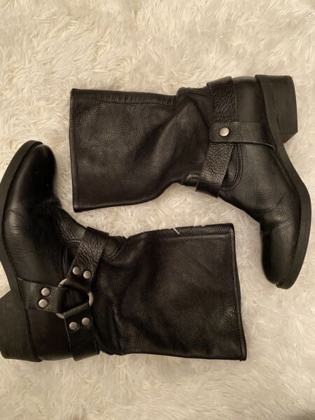Lucky Brand Biker Boots Rolanda Motorcycle Mid Calf Genuine Leather Size 9
