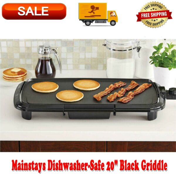 Grill Griddle Electric Non Stick Flat Top Indoor Countertop Portable Large 20 in