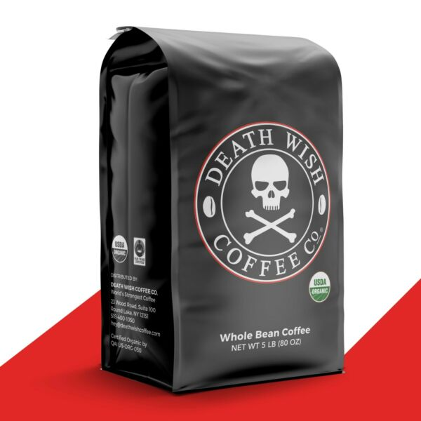 Death Wish Coffee Worlds Strongest Coffee Fair Trade Organic : 5 lb Whole Bean