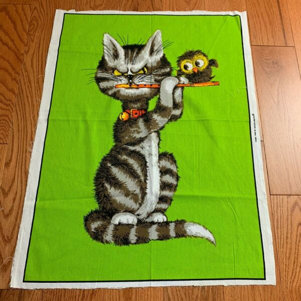 Vintage PANEL TIME BY WESCO RELTEX CAT ANGRY PLAYING FLUTE WALL FABRIC