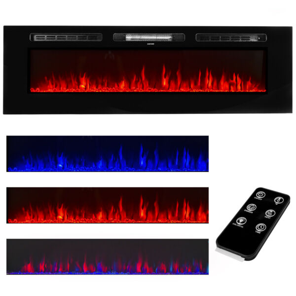 60quot; Contemporary In Wall Recessed Electric Fireplace Heater w Remote Control