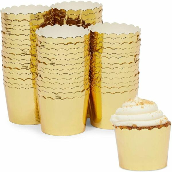 Gold Foil Cupcake Liners Muffin Baking Cups 1.96 x 1.8 In 60 Pack