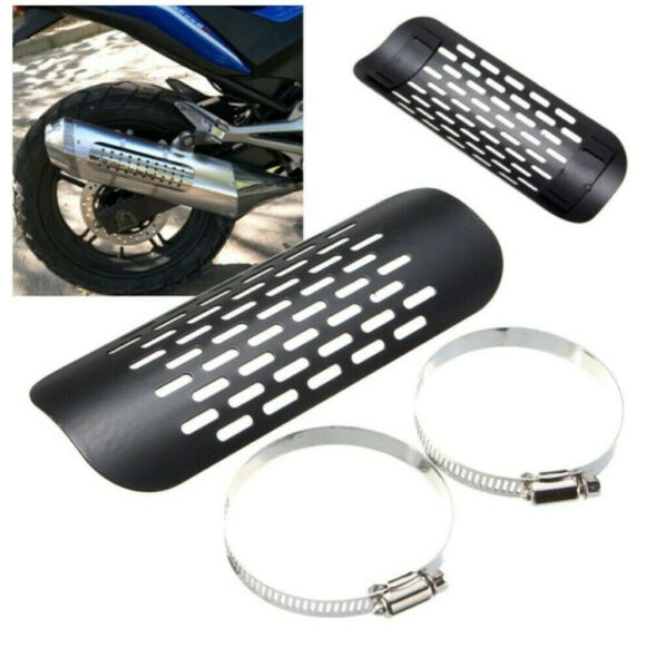Universal Black Exhaust Muffler Pipe Heat Shield Cover Heel Guard For Motorcycle