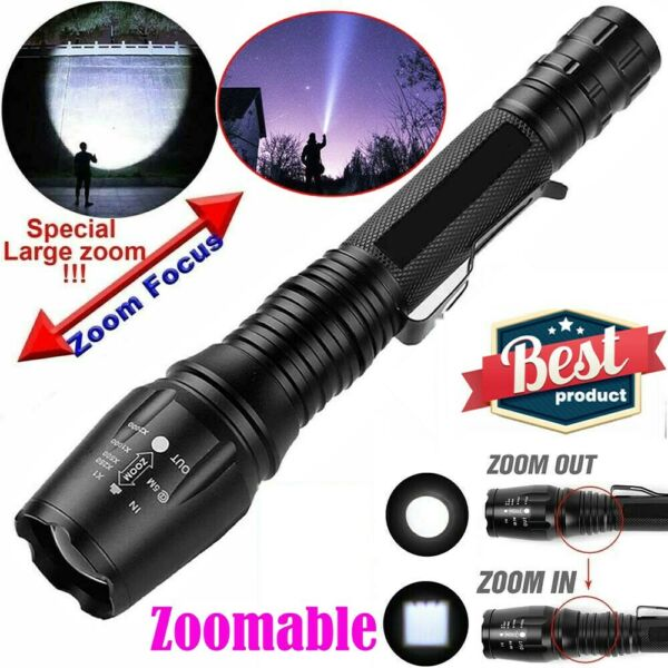 990000LM Super Bright Tactical Torch Police LED Flashlight Zoomable Camping Lamp
