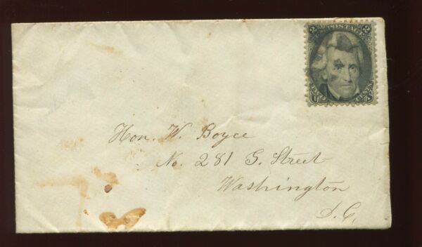 73 Used Stamp on Small CARRIER Cover to Hon William W. Boyce in Washington DC $99.99