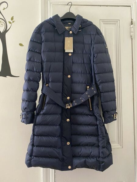 NWT burberry women Hooded Quilted Down Winter Puffer Jacket Coat XL Navy Blue $699.99
