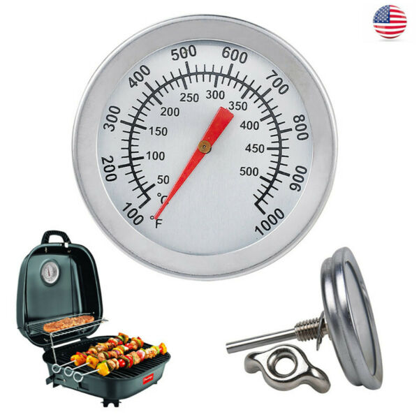 BBQ Barbecue Smoker Grill Thermometer Temperature Gauge 50 500°C Stainless Steel