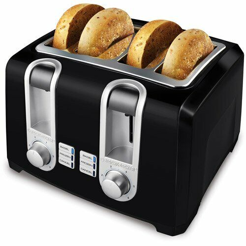 Black amp; Decker Extra Lift 4 Slice Black Toaster