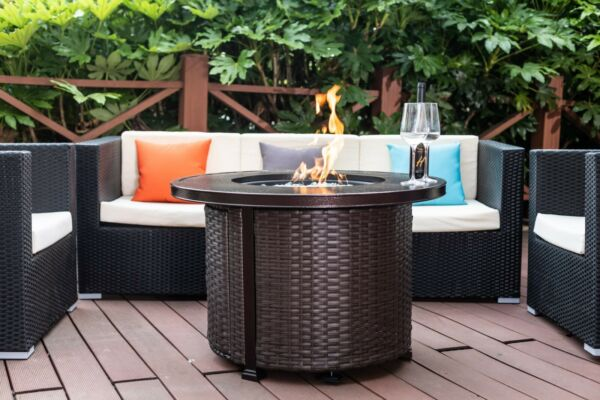 Large Patio Backyard Fire Table Outdoor Propane Gas Fire Pit Area Warmer Heater