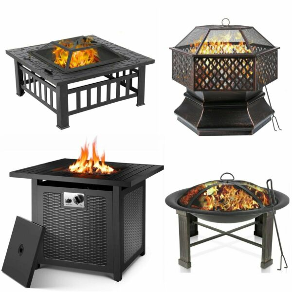 Patio Fire Pit Heater Outdoor Wood Burning or Propane Gas Firepit Bonfire Party $78.99