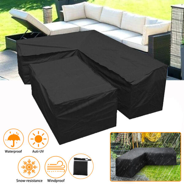 Outdoor Patio Furniture Cover L Shaped Yard Corner Sofa Waterproof Dustproof US $46.61