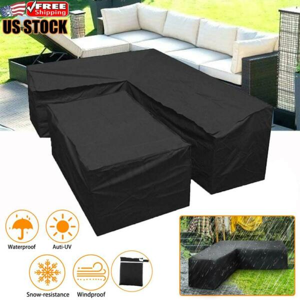 L Shape Furniture Cover Outdoor Garden Patio Rattan Sofa Waterproof Dustproof US $62.29