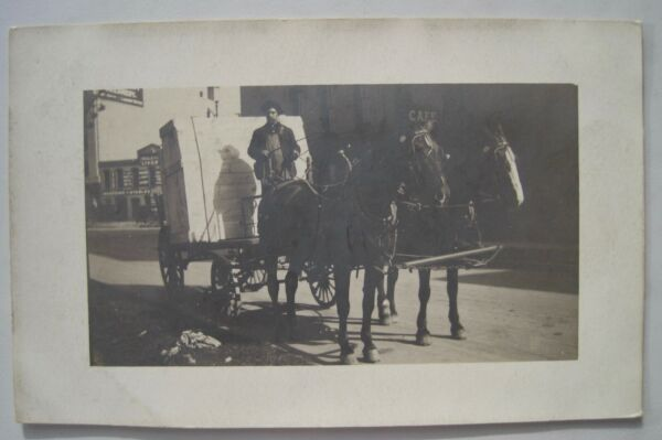 Large Crate; Horse Drawn Delivery Wagon Old 1904 20s RPPC Postcard; Livery Sign